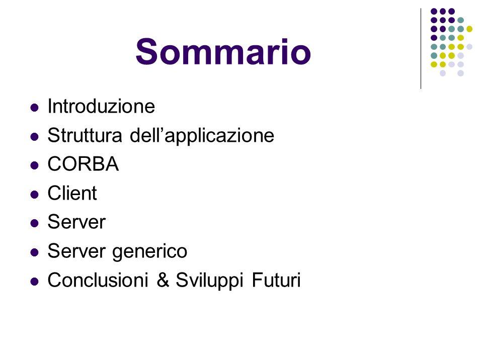 Sommario Introduzione Struttura dellapplicazione CORBA Client Server Server generico Conclusioni & Sviluppi Futuri