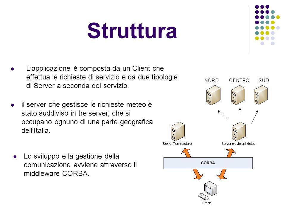 Struttura Lapplicazione è composta da un Client che effettua le richieste di servizio e da due tipologie di Server a seconda del servizio.
