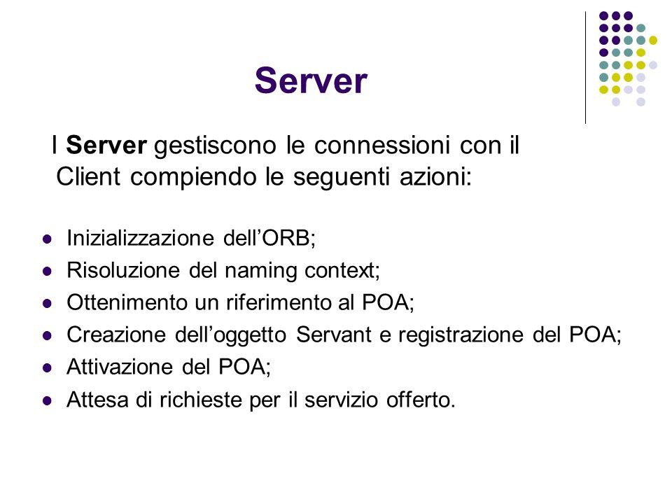 Server I Server gestiscono le connessioni con il Client compiendo le seguenti azioni: Inizializzazione dellORB; Risoluzione del naming context; Ottenimento un riferimento al POA; Creazione delloggetto Servant e registrazione del POA; Attivazione del POA; Attesa di richieste per il servizio offerto.