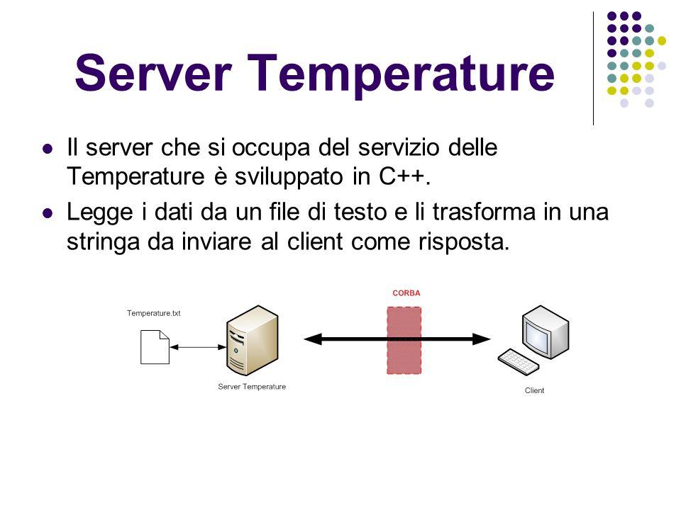 Server Temperature Il server che si occupa del servizio delle Temperature è sviluppato in C++.
