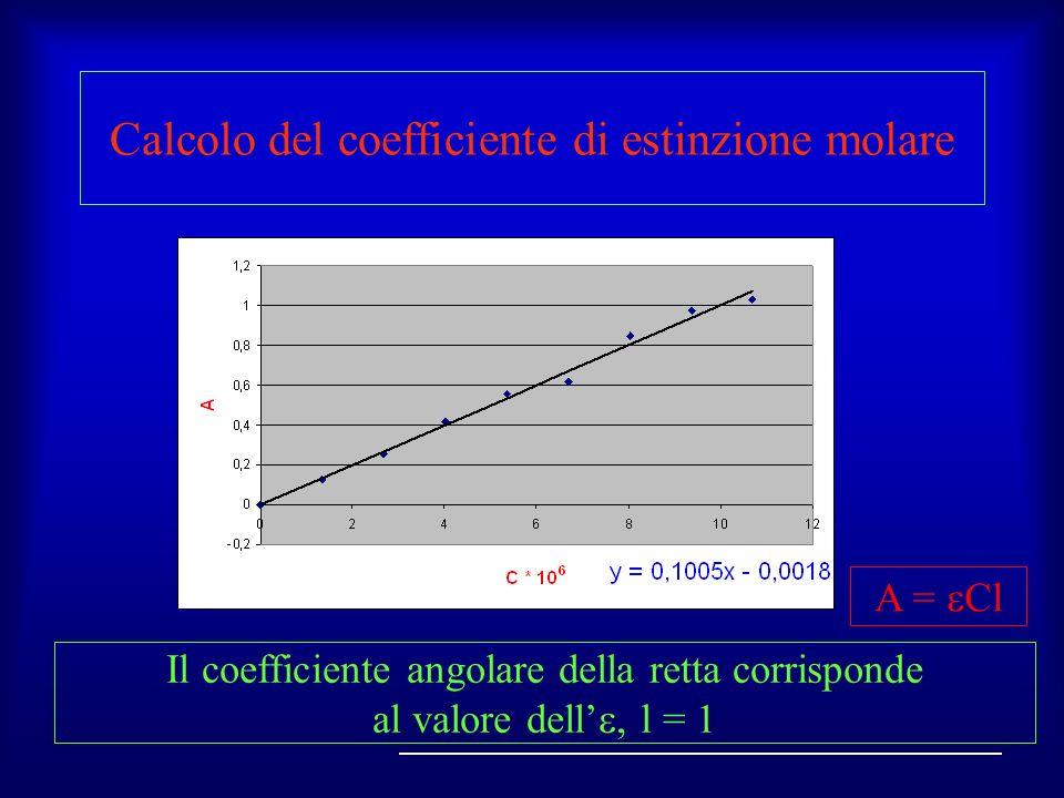 Calcolo del coefficiente di estinzione molare Il coefficiente angolare della retta corrisponde al valore dell l = 1 A = Cl