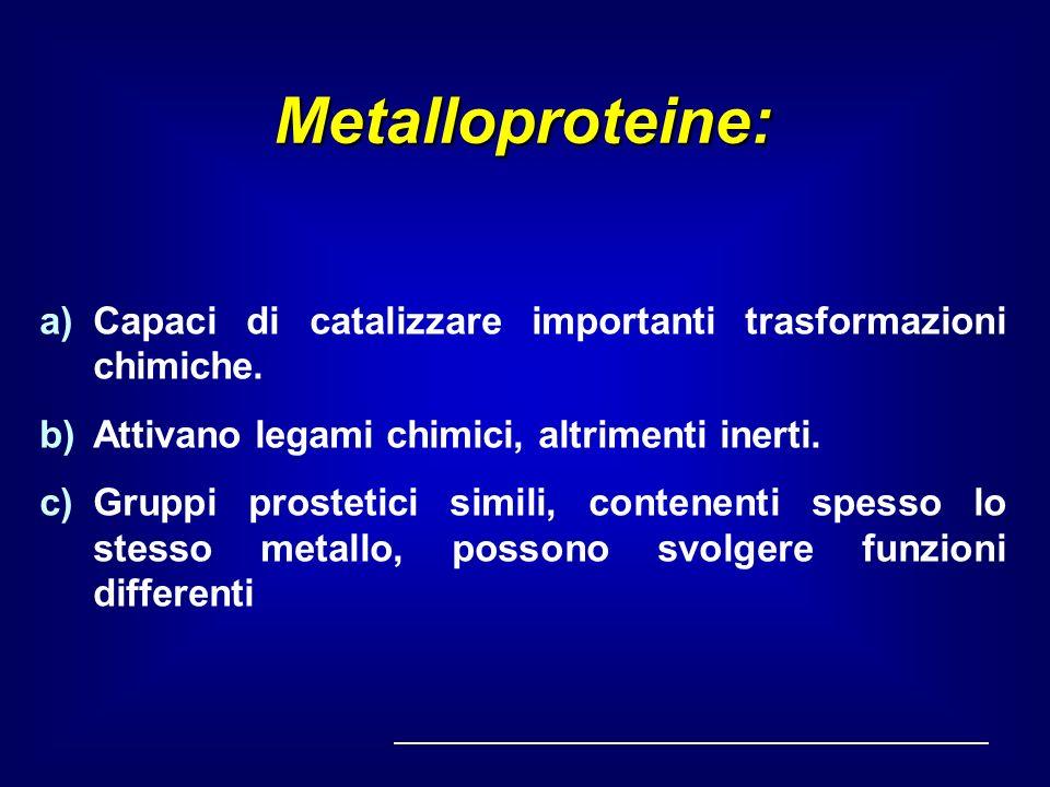 Metalloproteine: a)Capaci di catalizzare importanti trasformazioni chimiche. b)Attivano legami chimici, altrimenti inerti. c)Gruppi prostetici simili,