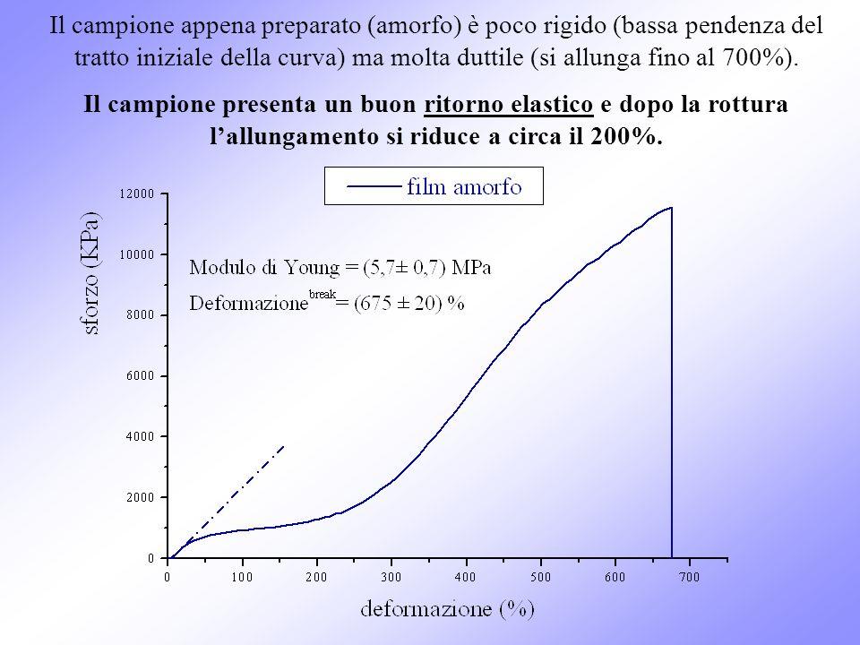 Il campione appena preparato (amorfo) è poco rigido (bassa pendenza del tratto iniziale della curva) ma molta duttile (si allunga fino al 700%). Il ca