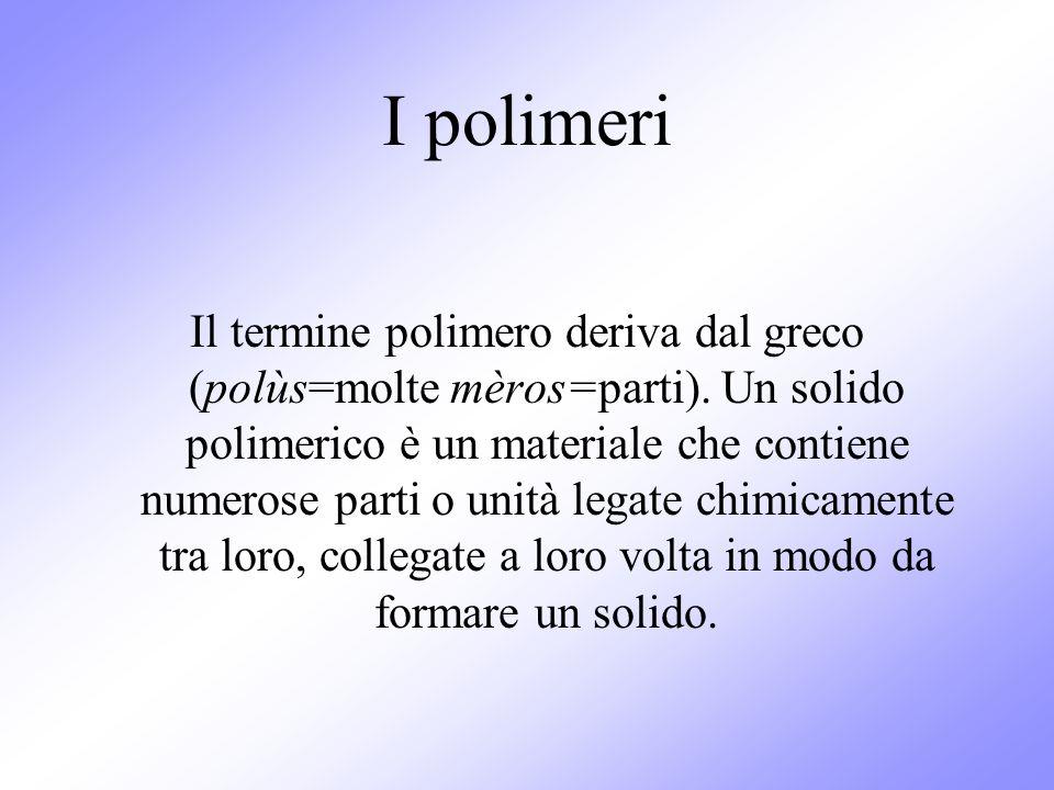 I polimeri Il termine polimero deriva dal greco (polùs=molte mèros=parti). Un solido polimerico è un materiale che contiene numerose parti o unità leg