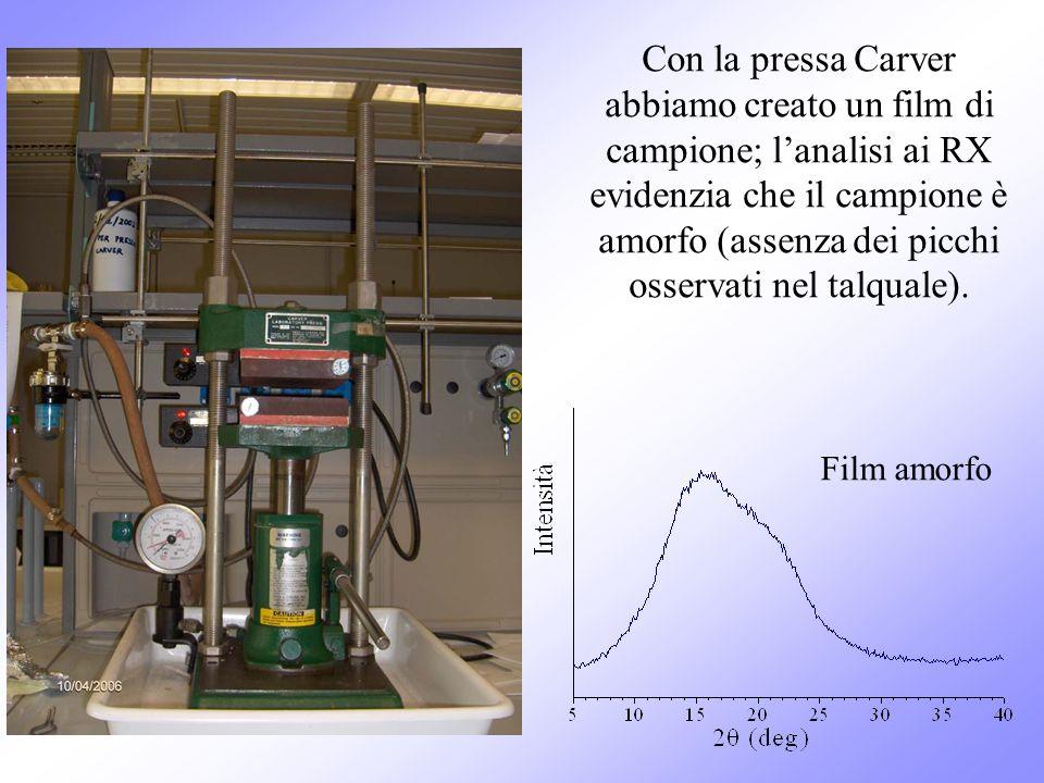 Con la pressa Carver abbiamo creato un film di campione; lanalisi ai RX evidenzia che il campione è amorfo (assenza dei picchi osservati nel talquale)