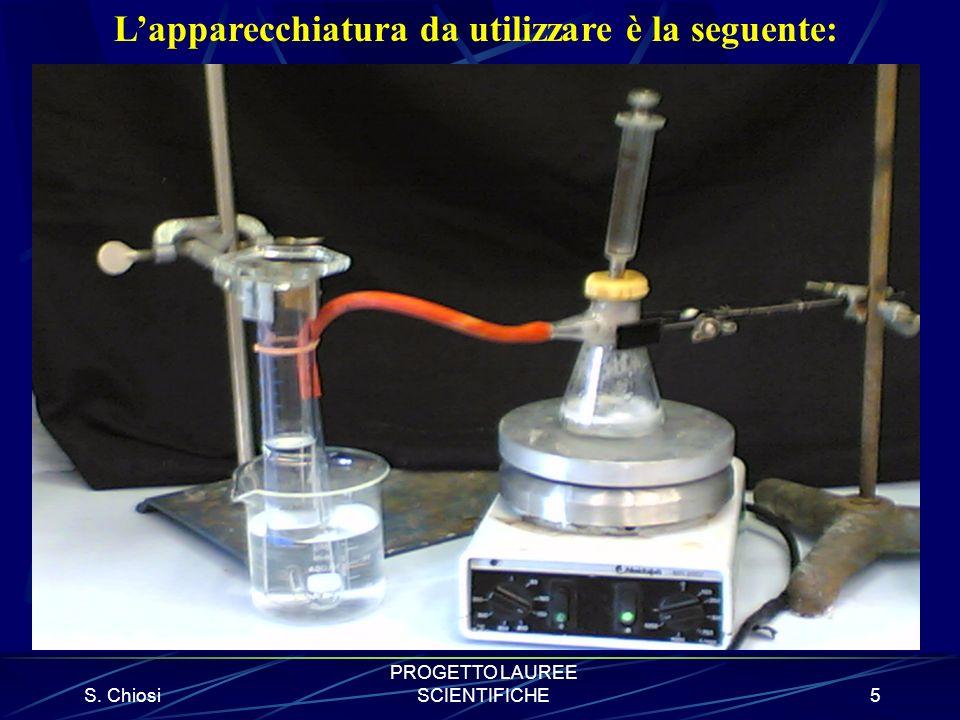 S. Chiosi PROGETTO LAUREE SCIENTIFICHE5 Lapparecchiatura da utilizzare è la seguente: