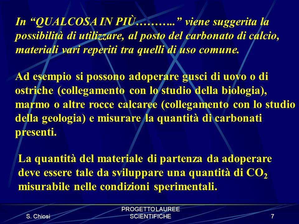 S. Chiosi PROGETTO LAUREE SCIENTIFICHE7 In QUALCOSA IN PIÙ……….. viene suggerita la possibilità di utilizzare, al posto del carbonato di calcio, materi