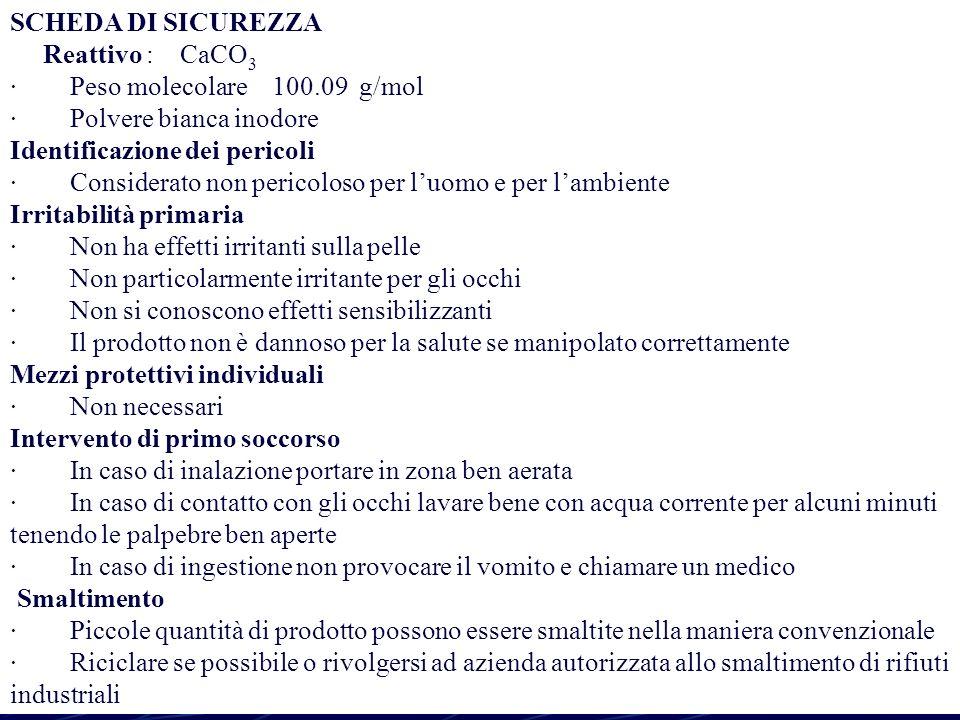 S. Chiosi PROGETTO LAUREE SCIENTIFICHE9 SCHEDA DI SICUREZZA Reattivo : CaCO 3 · Peso molecolare 100.09 g/mol · Polvere bianca inodore Identificazione