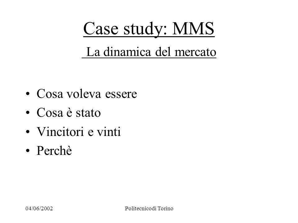 04/06/2002Politecnicodi Torino Case study: MMS La dinamica del mercato Cosa voleva essere Cosa è stato Vincitori e vinti Perchè