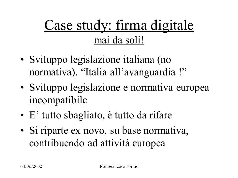 04/06/2002Politecnicodi Torino Case study: firma digitale mai da soli.