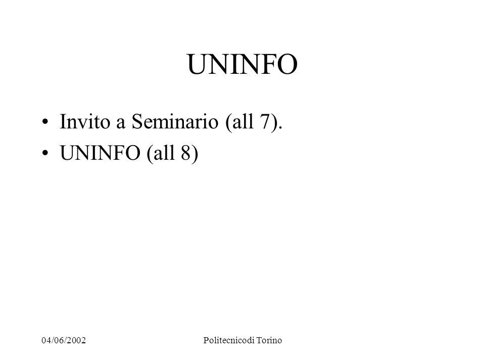 04/06/2002Politecnicodi Torino UNINFO Invito a Seminario (all 7). UNINFO (all 8)