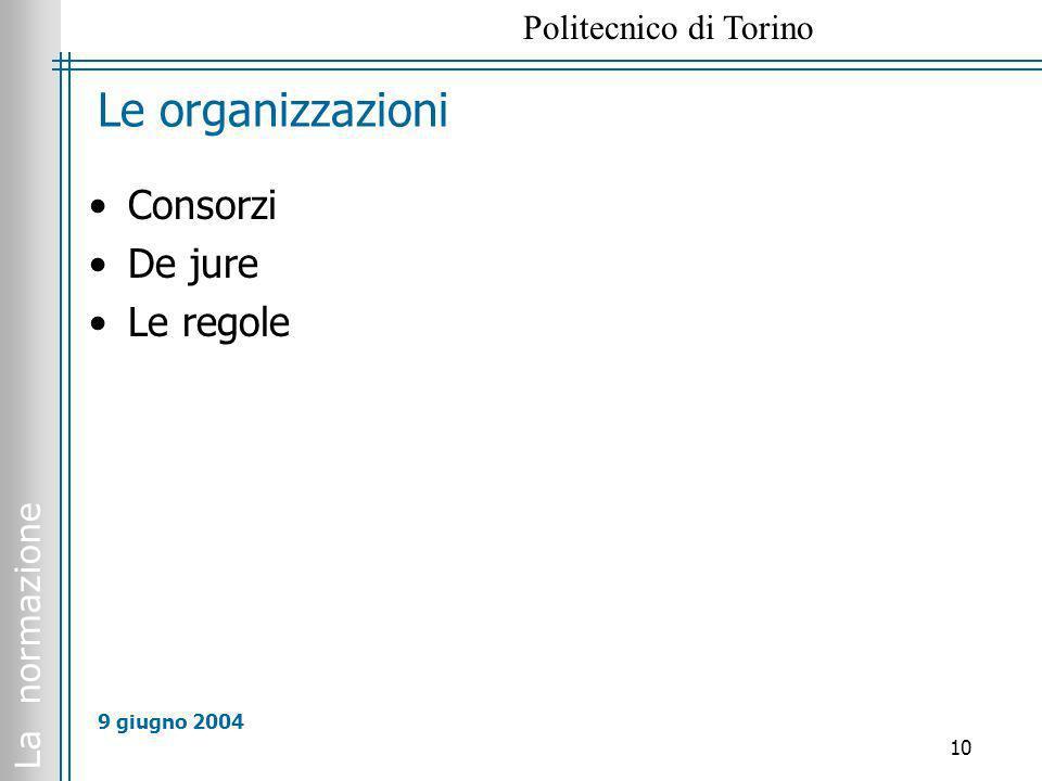 La normazione Politecnico di Torino 10 9 giugno 2004 Le organizzazioni Consorzi De jure Le regole
