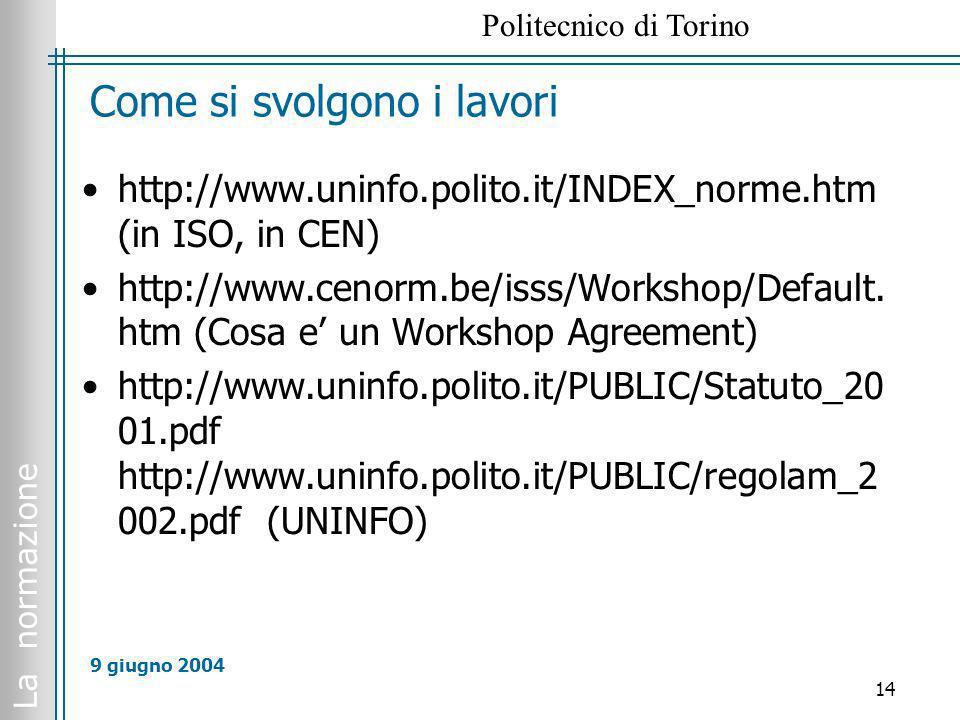 La normazione Politecnico di Torino 14 9 giugno 2004 Come si svolgono i lavori http://www.uninfo.polito.it/INDEX_norme.htm (in ISO, in CEN) http://www