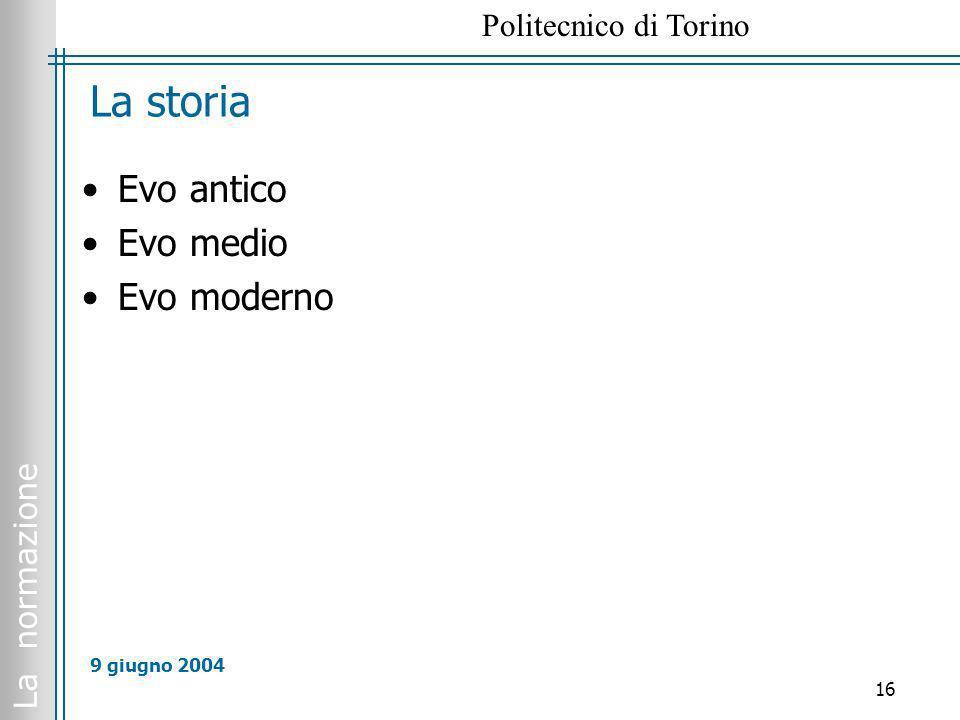 La normazione Politecnico di Torino 16 9 giugno 2004 La storia Evo antico Evo medio Evo moderno