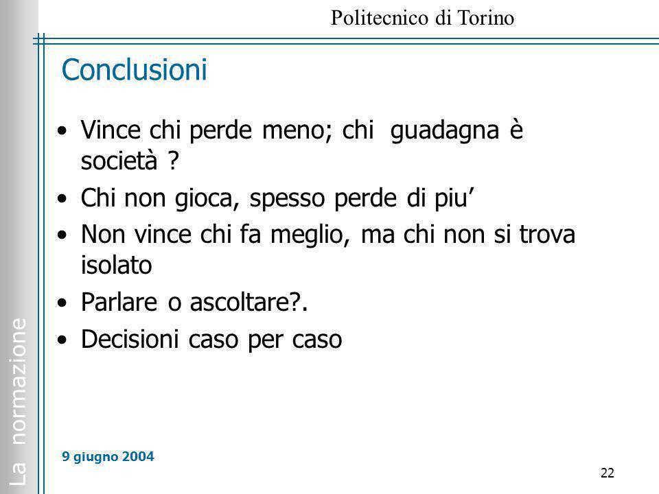 La normazione Politecnico di Torino 22 9 giugno 2004 Conclusioni Vince chi perde meno; chi guadagna è società ? Chi non gioca, spesso perde di piu Non