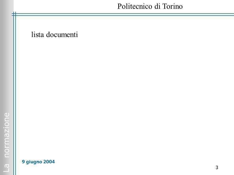 La normazione Politecnico di Torino 14 9 giugno 2004 Come si svolgono i lavori http://www.uninfo.polito.it/INDEX_norme.htm (in ISO, in CEN) http://www.cenorm.be/isss/Workshop/Default.