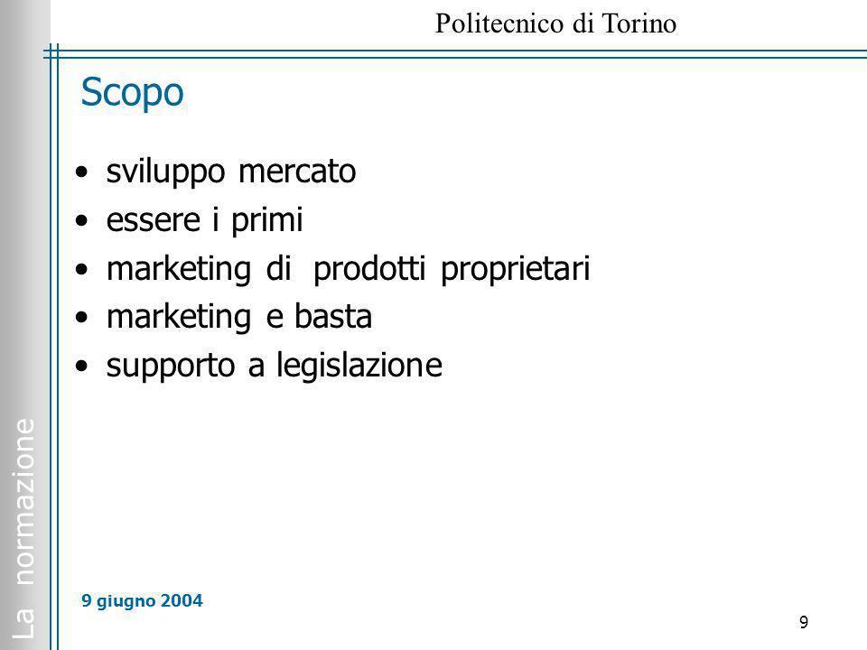 La normazione Politecnico di Torino 9 9 giugno 2004 Scopo sviluppo mercato essere i primi marketing di prodotti proprietari marketing e basta supporto