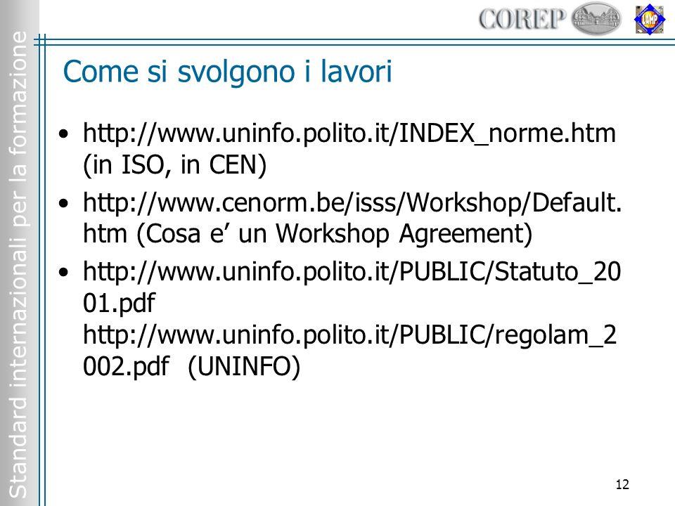 Standard internazionali per la formazione 12 Come si svolgono i lavori http://www.uninfo.polito.it/INDEX_norme.htm (in ISO, in CEN) http://www.cenorm.