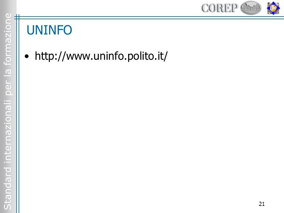 Standard internazionali per la formazione 21 UNINFO http://www.uninfo.polito.it/