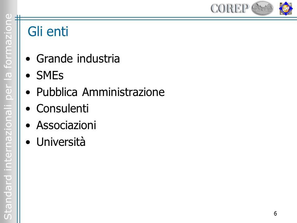 Standard internazionali per la formazione 6 Gli enti Grande industria SMEs Pubblica Amministrazione Consulenti Associazioni Università