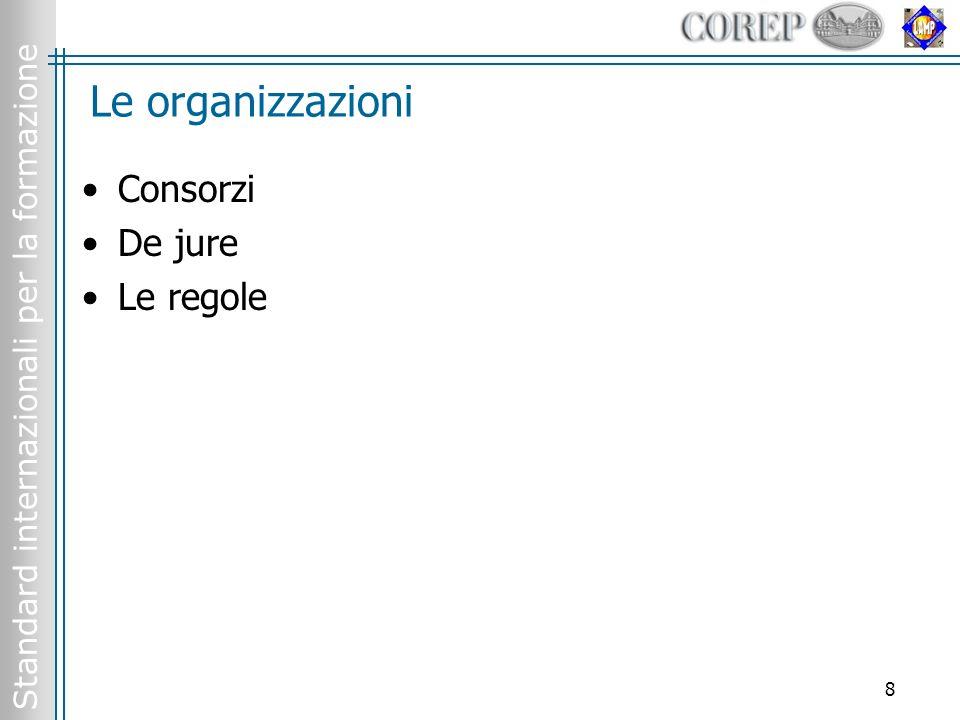 Standard internazionali per la formazione 8 Le organizzazioni Consorzi De jure Le regole