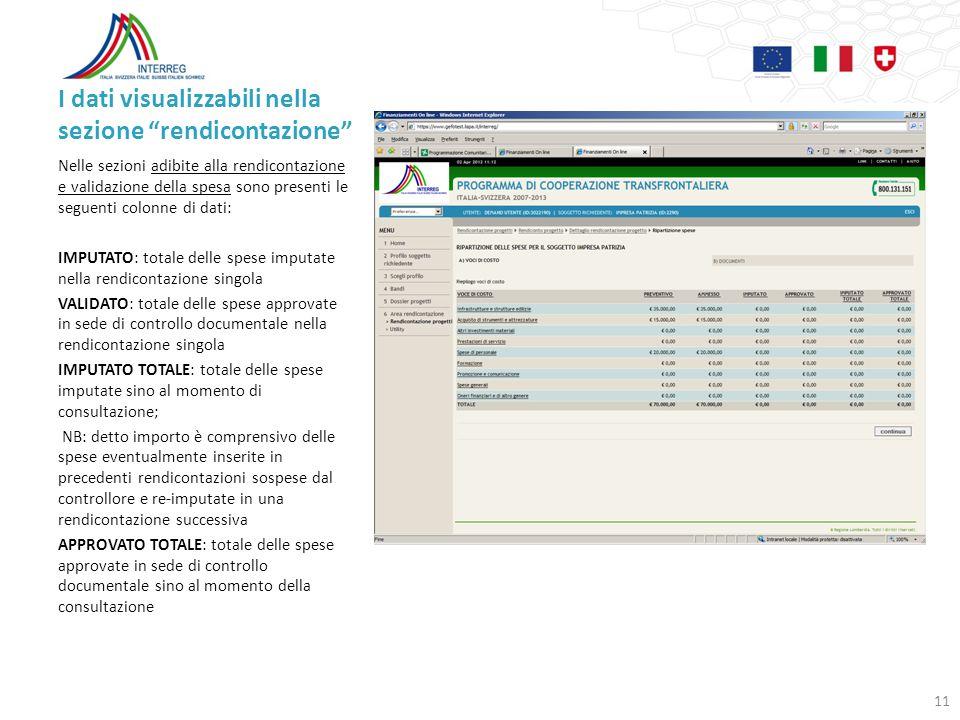 I dati visualizzabili nella sezione rendicontazione Nelle sezioni adibite alla rendicontazione e validazione della spesa sono presenti le seguenti col