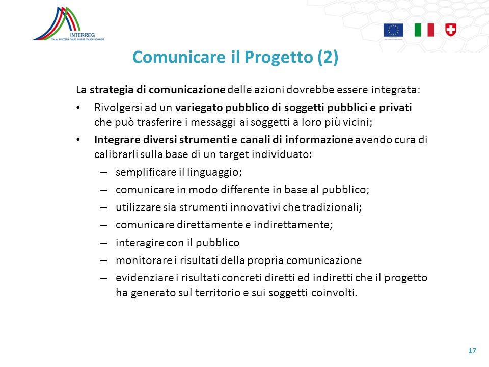 Comunicare il Progetto (2) La strategia di comunicazione delle azioni dovrebbe essere integrata: Rivolgersi ad un variegato pubblico di soggetti pubbl