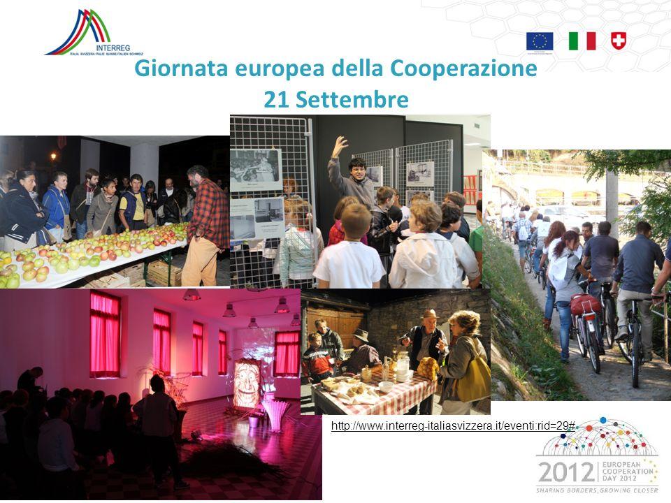 Giornata europea della Cooperazione 21 Settembre 20 http://www.interreg-italiasvizzera.it/eventi:rid=29#