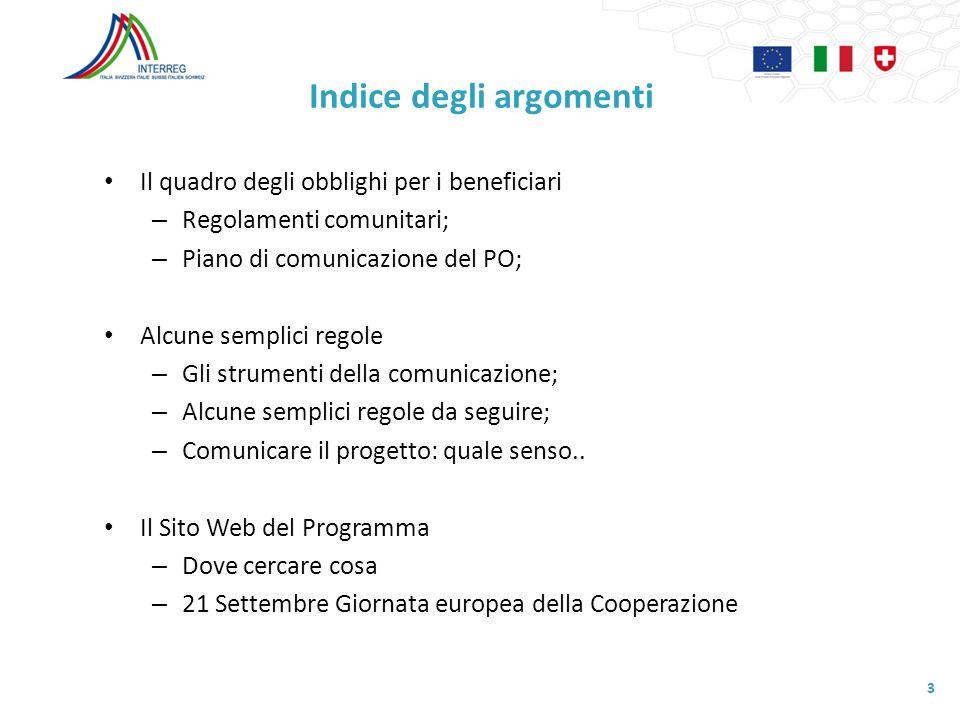 Indice degli argomenti Il quadro degli obblighi per i beneficiari – Regolamenti comunitari; – Piano di comunicazione del PO; Alcune semplici regole –