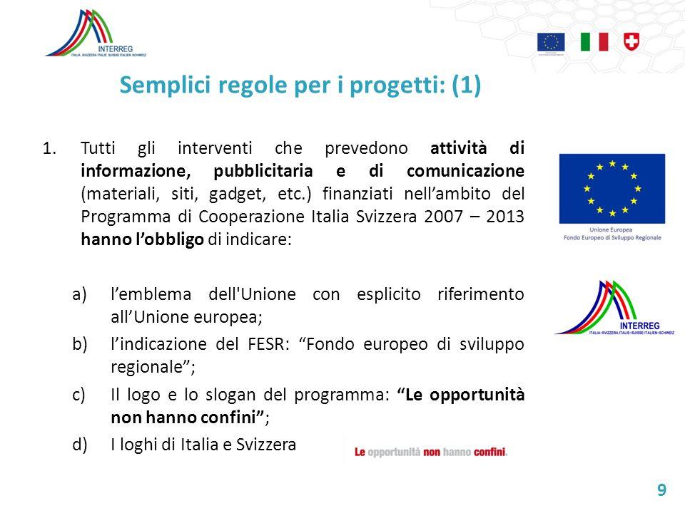 Semplici regole per i progetti: (1) 1.Tutti gli interventi che prevedono attività di informazione, pubblicitaria e di comunicazione (materiali, siti,
