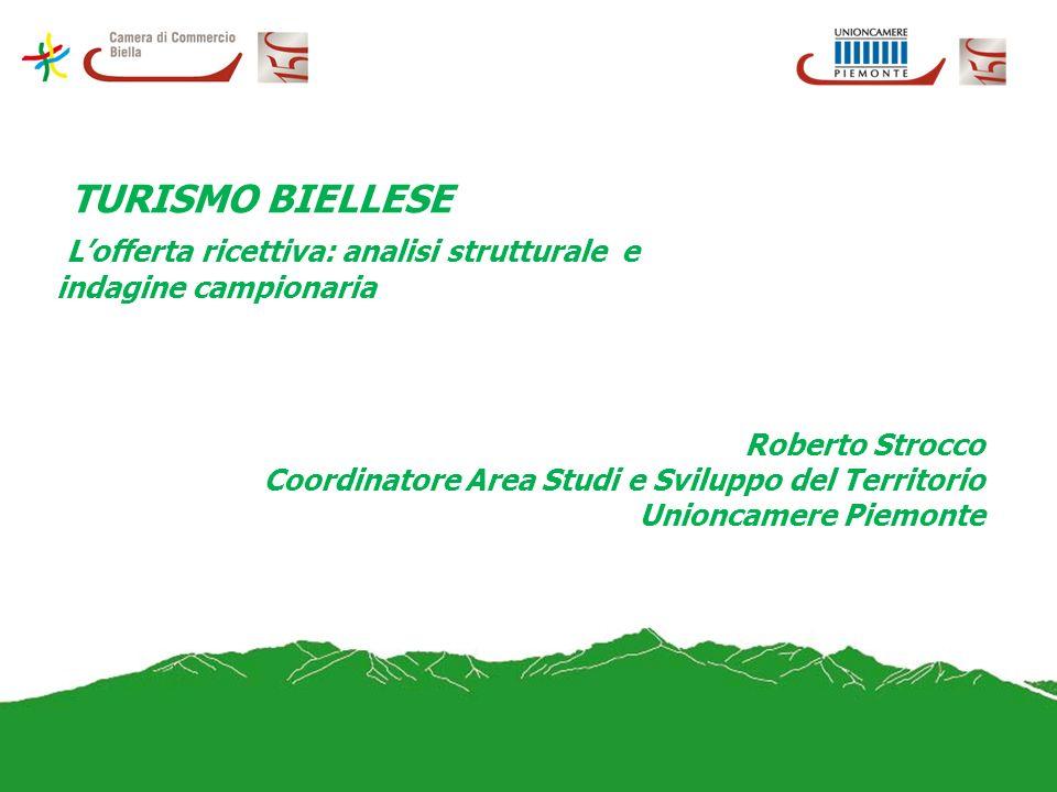 TURISMO BIELLESE Lofferta ricettiva: analisi strutturale e indagine campionaria Roberto Strocco Coordinatore Area Studi e Sviluppo del Territorio Unioncamere Piemonte