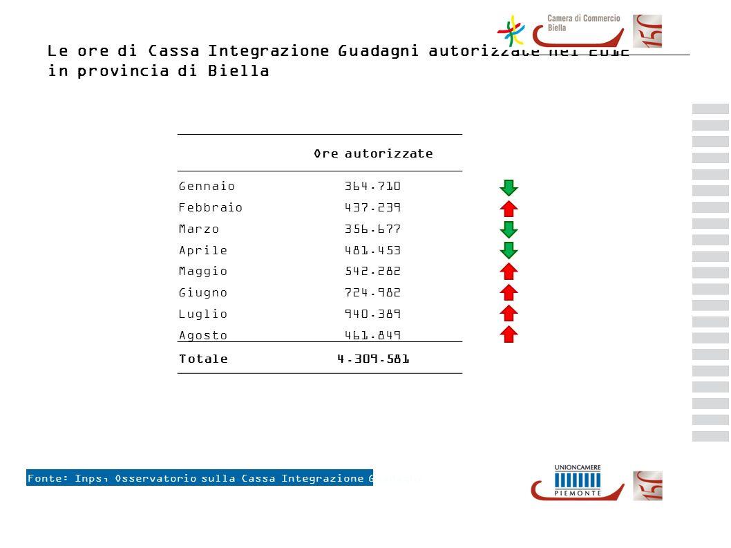 Le ore di Cassa Integrazione Guadagni autorizzate nel 2012 in provincia di Biella Fonte: Inps, Osservatorio sulla Cassa Integrazione Guadagni +3,5 % +9,8 % +10,5 % +3,1 % +7,4 % +5,1 % +6,8 % +11,3% Ore autorizzate Gennaio364.710 Febbraio437.239 Marzo356.677 Aprile481.453 Maggio542.282 Giugno724.982 Luglio940.389 Agosto461.849 Totale4.309.581