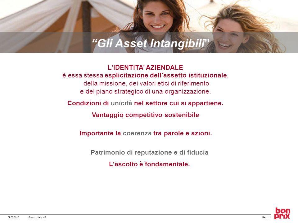 09.07.2010Pag. 11Bonprix Italy HR Gli Asset Intangibili LIDENTITA AZIENDALE è essa stessa esplicitazione dellassetto istituzionale, della missione, de
