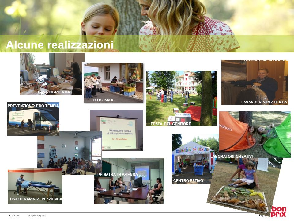 Alcune realizzazioni 09.07.2010Pag. 14Bonprix Italy HR PEDIATRA IN AZIENDA LAVANDERIA IN AZIENDA LABORATORI CREATIVI CENTRO ESTIVO PANE IN AZIENDA ORT