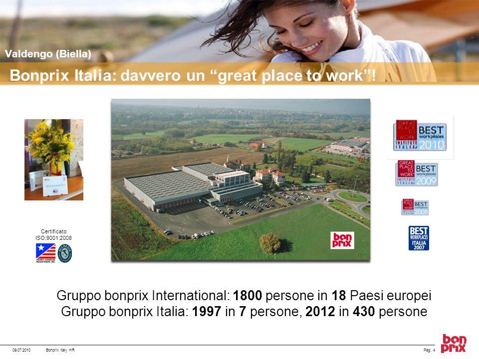 Pag. 409.07.2010Bonprix Italy HR Gruppo bonprix International: 1800 persone in 18 Paesi europei Gruppo bonprix Italia: 1997 in 7 persone, 2012 in 430