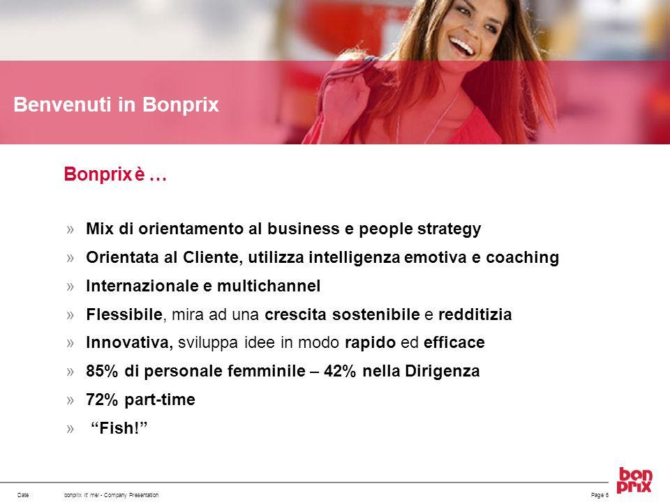 Datebonprix it' me! - Company PresentationPage 6 Benvenuti in Bonprix Mix di orientamento al business e people strategy Orientata al Cliente, utilizza