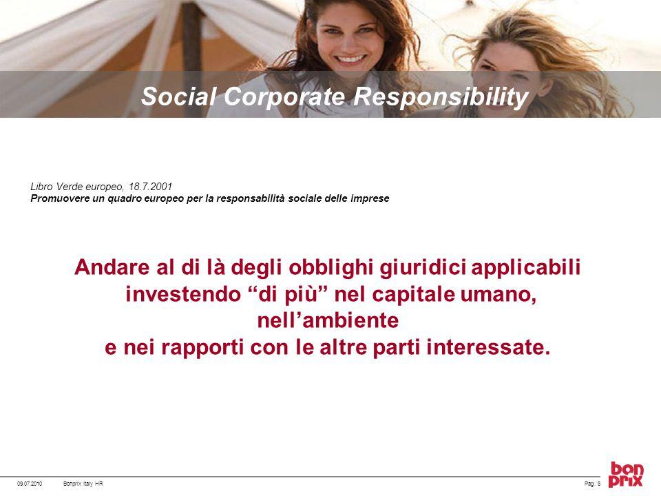 Libro Verde europeo, 18.7.2001 Promuovere un quadro europeo per la responsabilità sociale delle imprese Andare al di là degli obblighi giuridici appli