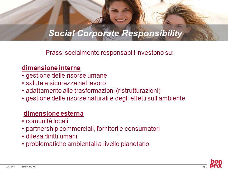 09.07.2010Pag. 9Bonprix Italy HR Social Corporate Responsibility Prassi socialmente responsabili investono su: dimensione interna gestione delle risor