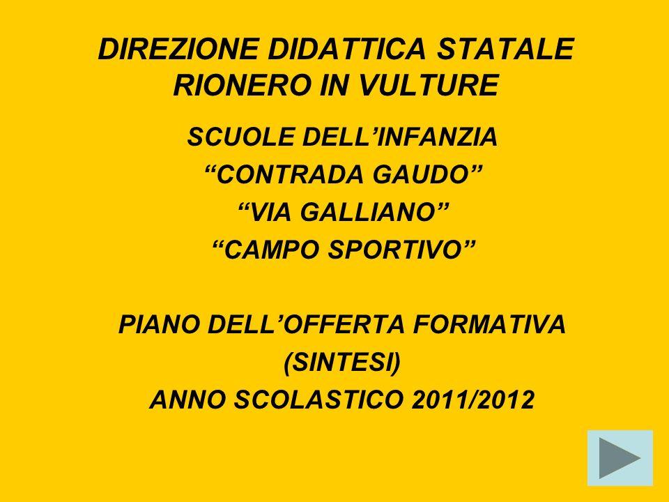DIREZIONE DIDATTICA STATALE RIONERO IN VULTURE SCUOLE DELLINFANZIA CONTRADA GAUDO VIA GALLIANO CAMPO SPORTIVO PIANO DELLOFFERTA FORMATIVA (SINTESI) ANNO SCOLASTICO 2011/2012