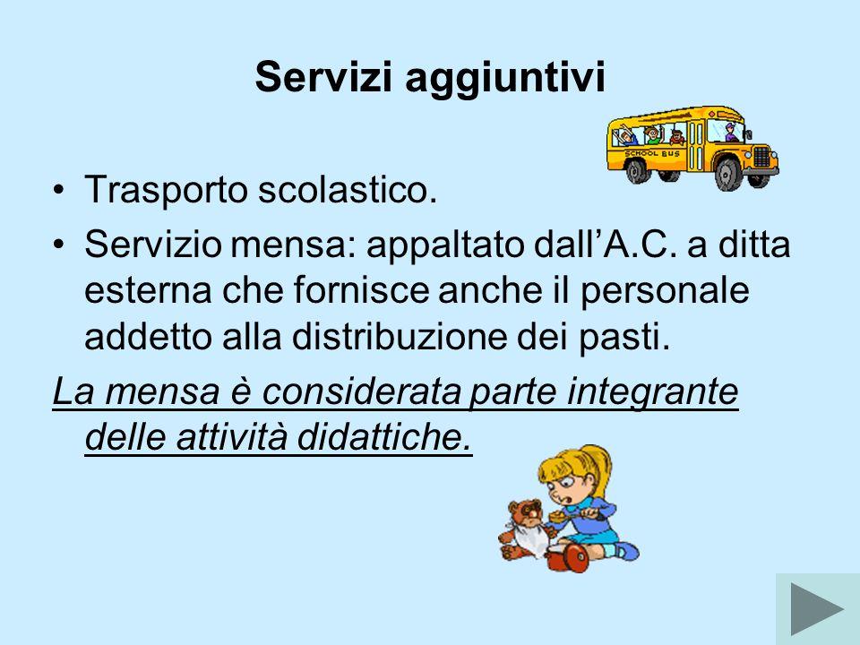 Servizi aggiuntivi Trasporto scolastico. Servizio mensa: appaltato dallA.C. a ditta esterna che fornisce anche il personale addetto alla distribuzione