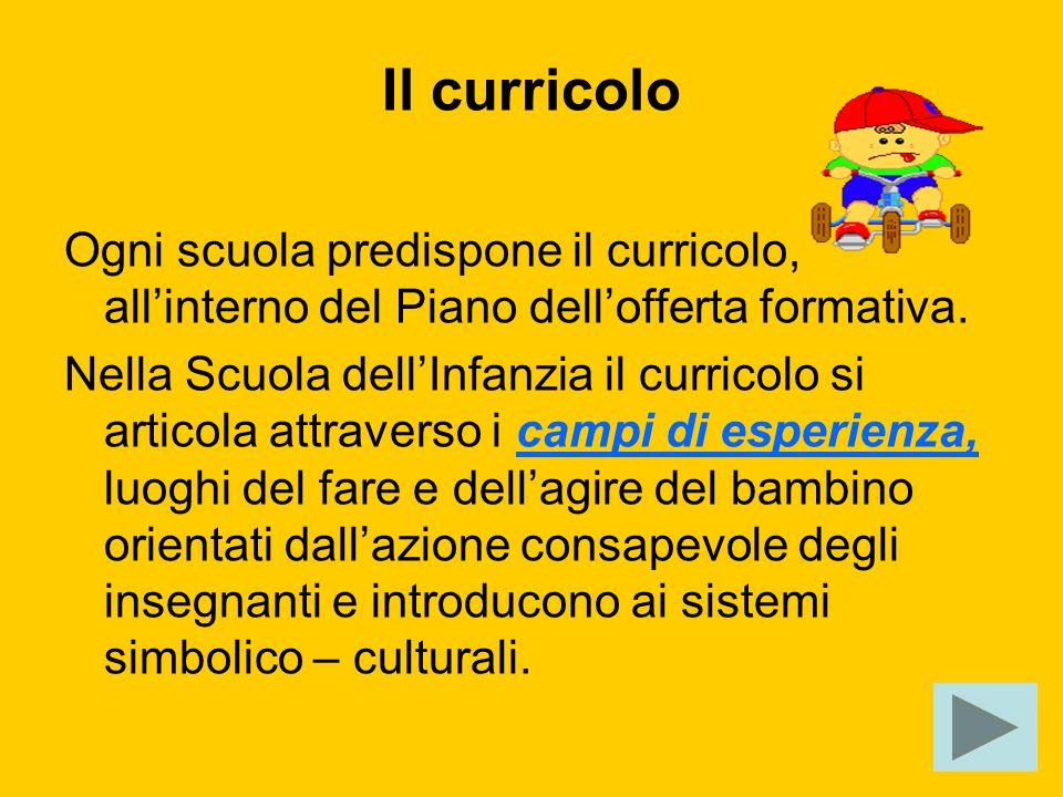 Il curricolo Ogni scuola predispone il curricolo, allinterno del Piano dellofferta formativa. Nella Scuola dellInfanzia il curricolo si articola attra