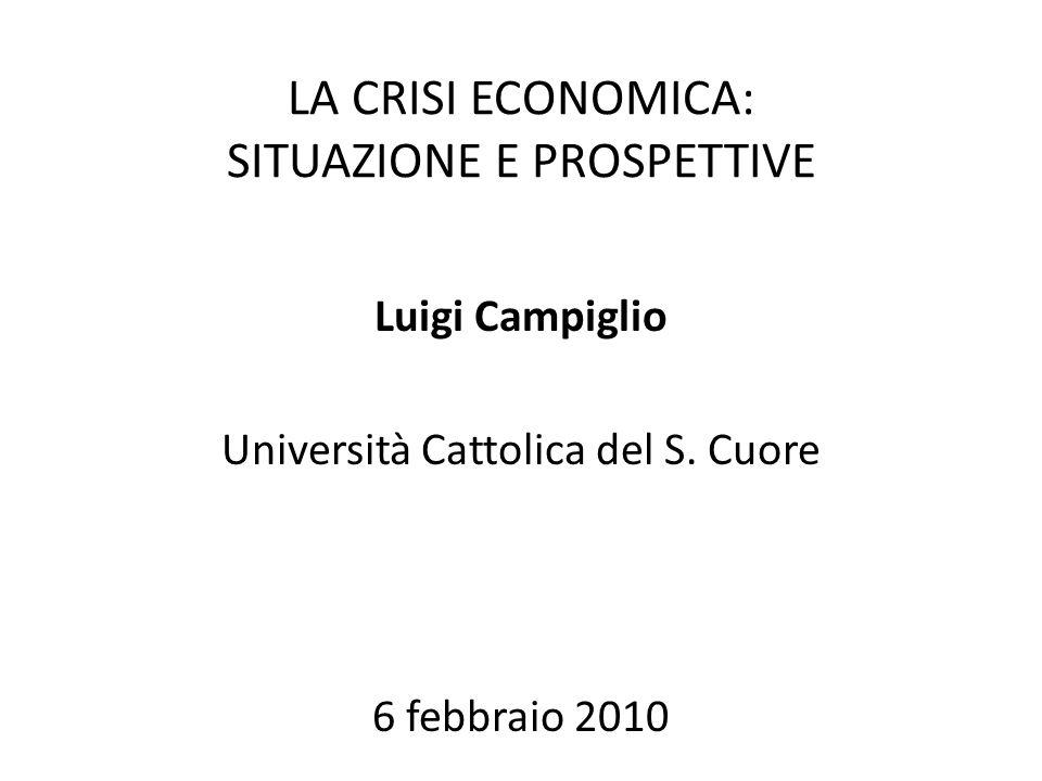 LA CRISI ECONOMICA: SITUAZIONE E PROSPETTIVE Luigi Campiglio Università Cattolica del S.