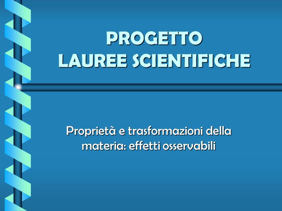 PROGETTO LAUREE SCIENTIFICHE Proprietà e trasformazioni della materia: effetti osservabili