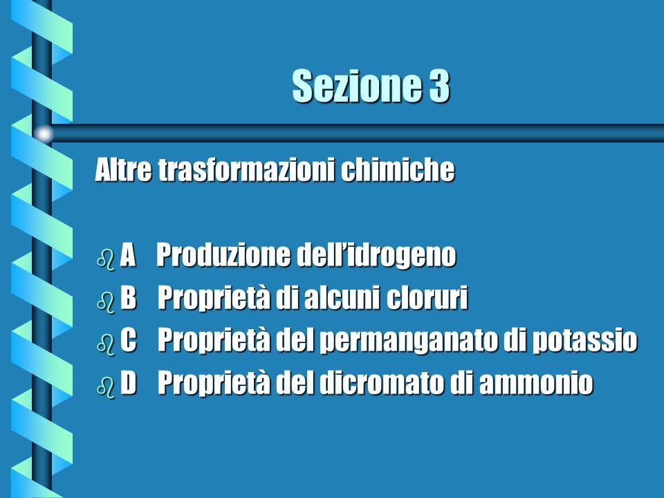 Sezione 3 Altre trasformazioni chimiche b A Produzione dellidrogeno b B Proprietà di alcuni cloruri b C Proprietà del permanganato di potassio b D Pro