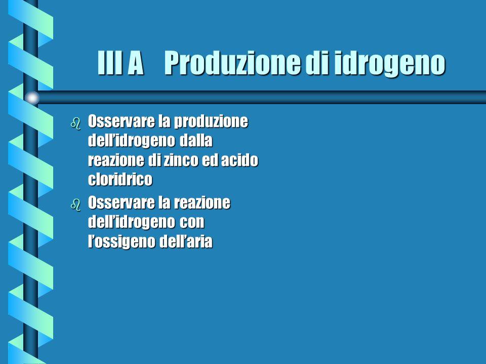 III A Produzione di idrogeno b Osservare la produzione dellidrogeno dalla reazione di zinco ed acido cloridrico b Osservare la reazione dellidrogeno c