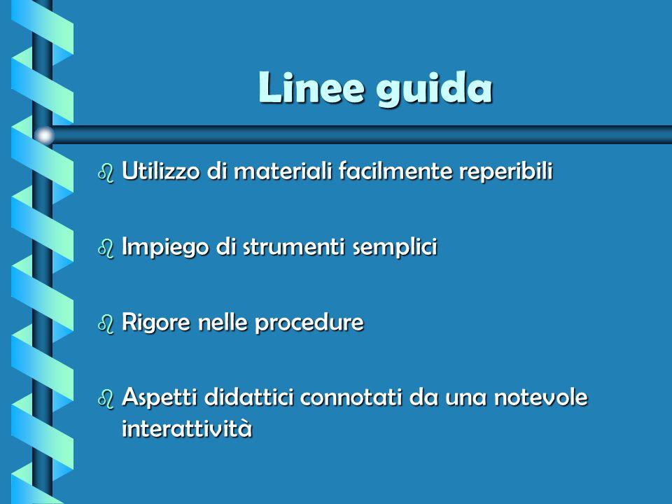 Linee guida b Utilizzo di materiali facilmente reperibili b Impiego di strumenti semplici b Rigore nelle procedure b Aspetti didattici connotati da un