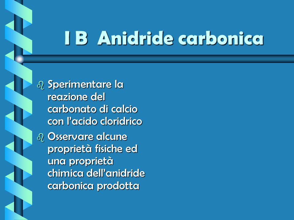 I B Anidride carbonica b Sperimentare la reazione del carbonato di calcio con lacido cloridrico b Osservare alcune proprietà fisiche ed una proprietà