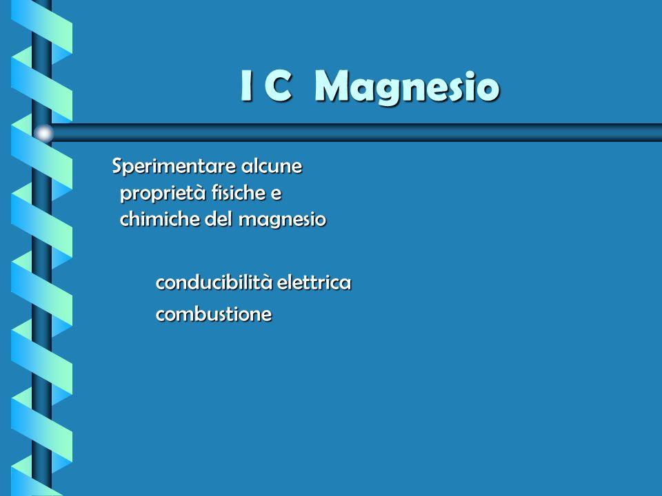 I C Magnesio Sperimentare alcune proprietà fisiche e chimiche del magnesio Sperimentare alcune proprietà fisiche e chimiche del magnesio conducibilità
