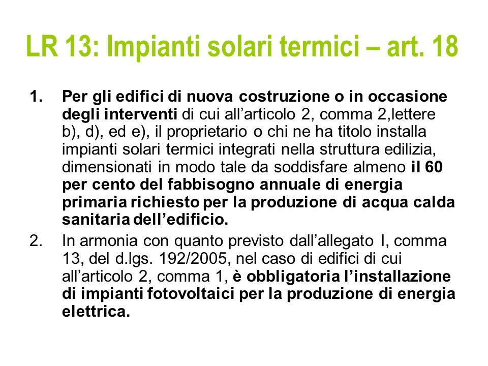 LR 13: Impianti solari termici – art.