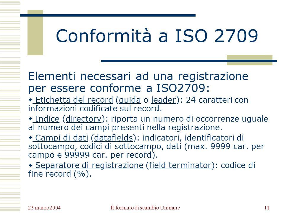 25 marzo2004 Il formato di scambio Unimarc10 Lo standard ISO 2709 LInternational Organization for Standardization ha pubblicato nel 1996 la terza edizione della norma ISO 2709 per la standardizzazione del formato scambio su nastro magnetico dei record bibliografici (Format for bibliographic information interchange on magnetic tape).